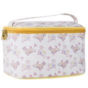 TaylorHe Waterproof Large Make-up Bag Cosmetic Case Toiletry Bag Vanity Case with Patterns zipped with Handle Puppies Yellow Piping