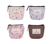 Scrox 4Pcs Multifunctional Portable Make-up Bag Cosmetic Case Toiletry Bag Cute Floral Zipper Storage Pouch Coin Purse Pouch for Lipstick Cosmetics Credit Card Headset Cellphone Keys