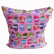 Baby Cloth Nappy Bag Waterproof Reusable Printing Wet Bag with Zipper Snap Handle(Owl
