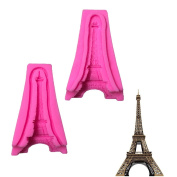 2 Pcs 3D Big La Tour Eiffel/The Eiffel Tower Cup Cake Decoration Chocolate Mould Silicone Fondant Moulds for Soaps Candy Chocolate Gummies Clay Making Cake Moulds Baking Tools
