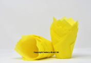 Bakery direct 50 Spring yellow tulip muffin wraps cases FREEPOST