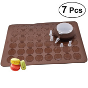 BESTOMZ Macaron Making Set- 48 Capacity Macaron Silicone Baking Mats Non stick Cakes Mould Trays Bakeware and Decorating Pen Icing Tips with 4 Nozzles