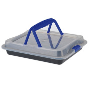 Baking Dish with Plastic Lid and Carrying Handle – Non Stick Baking Tray 36 x 23 x 4.5 cm. Perfect For The Safe Transport Baking/Lasagne