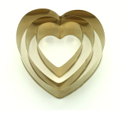 Swan household ® - Set Of 3 Love Heart Gold Cookies, Pastries, Cake Decoration Cutters