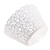50 x White Flower Cake Cupcake Muffin Wrapper Decorating Packaging Paper Baking Cup Muffin Case Wedding Party Decoration