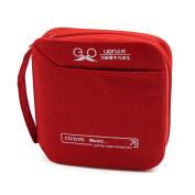 Nylon Zipper Closure 32 Capacity CD DVD Storage Case Bag Holder Organiser Red