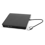 USB 2.0 Plastic External Floppy Disc DVD-RW Diskette CD Drive Black for Laptop