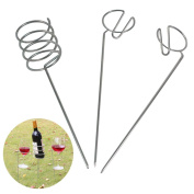 Wine Holder, outgeek 3 PCS Outdoor Wine Holder Heavy Duty Metal Wine Stake Beverage Drink Stake for Garden Picnic BBQ