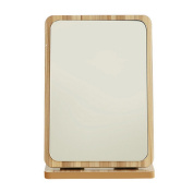 Restbuy mirror vanity mirror desk mirror with wood frame and bottom for makeup and shaving light brown 16 x 24.5 cm