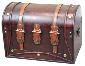 Decorative Antique Style Wood and Leather Round Top Trunk with Straps