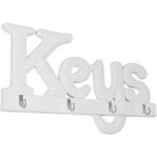 """'COM-FOUR """"Keys Key Hook Board 4 Hooks Wooden Key 33 x 19 cm"""