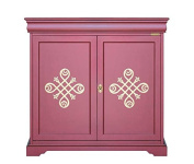 2 door cupboard in ruby colour and gold patterns, wooden sideboard for living room, dining room cupboard made in Italy, gold friezes, sizes width 93 x depth 40 x height 89.5 cm, dining room cabinet