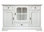 Dining room cupboard, wooden sideboard for living room, white wood cabinet, 3 doors 3 drawers, width 133 x depth 40 x height 85.5 cm, dining room white cabinet handmade in italy by expert craftsmen