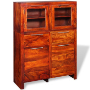 Festnight Solid Sheesham Wood Large Sideboard Bedroom Living Room Storage Furniture 100x35x140 cm
