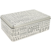 Sugar Biscuit Box with Coffee Tag Words Silver