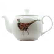 Pheasant Teapot - Fine Bone China - White - Made in England - Hand decorated - Sarah Boddy