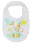 M & Co Baby Unisex White Cotton Born In 2018 Bird Print Hook And Loop Fastening Bib