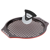 Stoneline 15974 Pizza Tin and Pizza Cutter, Pizza Baking Set, Carbon Steel, Ruby Red, 40.1 x 35.4 x 2.9 cm 2 Units
