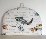 Fly Fishing Salmon Trout Hake Monk Fish Sea bass Print Large Tea Cosy