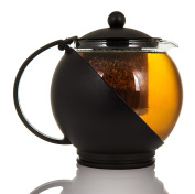 LIVIVO ® Infusing Teapot – Large 1.25L Capacity Round Herbal Loose Leaf Tea Pot with Insulated Plastic Frame and Heat Resistant Glass Hot Water Beaker – Includes Removable Infuser Basket and Plastic Lid – Dishwasher Safe