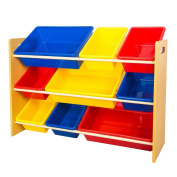 TOP-MAX Toys Storage Shelves 9 Colourful Plastic Bins Cases Kids Children Toy Storage Shelf Rack for Nursery Room Bedroom