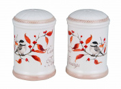 Transpac Long Tail Bird Salt and Pepper Shaker Set, Distressed White, 3 x 2