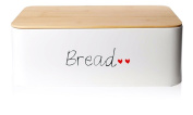 Large Retro Bread Roll Bin Storage Tin Metal Box Bread Vintage white With Cutting Board red harts
