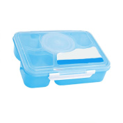 Sukisuki 5 Compartments Leakproof Microwave Bento Lunch Box with Spoon Food Storage Container for Picnic School Office