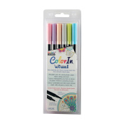 MARVY UCHIDA colour IN LE PLUME II DOUBLE ENDED MARKER SET/6 PASTEL