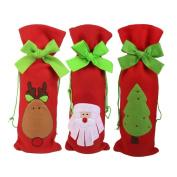 NiceButy 3 Pcs/Set Wine Bottle Bags Gift Wrap Drawstring Pouch Santa Claus Deer Tree Pattern Fun Christmas Table Decorations