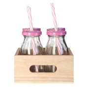 Glass Drinking Bottles With Straws Presented In Natural Wood Tray