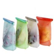 Saihui 4Pcs Reusable Vacuum Food Sealer Silicone Storage Bag Container Kitchen Fridge
