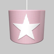 Lampshade incl. Frame and Supply Pipe, Hanging Lamp Light Kid's Room Deluxe Star Vichy Chequered Pink Motif Felt Star Diameter o35cm 14504