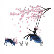 Zantec Romantic Flower Fairy Swing Wall Sticker for TV Background Bedroom Living Room Art Mural Decoration
