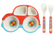 Reizbaby Bamboo Fibre Sub-grid Rice Bowl with Spoon Fork Cute Children's Tableware Set Cartoon Car Style