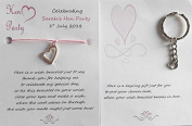 5 X Personalised Hen Party Wish Bracelets With A Lovely Heart Wish Charm On The Reverse Side Of Each Bracelet There Is A Keyring For You To Put The Wish Charm Onto Once The Wish Bracelet Breaks In two