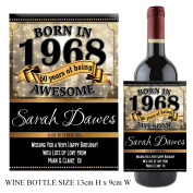 Personalised Born In Year 1968 Happy 50th Birthday WINE / CHAMPAGNE Bottle Label Sticker N155 Gift for Him Her