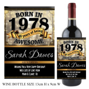 Personalised Born In Year 1978 Happy 40th Birthday WINE / CHAMPAGNE Bottle Label Sticker N145 Gift for Him Her