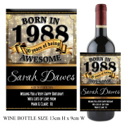 Personalised Born In Year 1988 Happy 30th Birthday WINE / CHAMPAGNE Bottle Label Sticker N135 Gift for Him Her