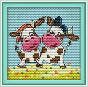 Chreey The Funny Animals Series (2) - Happy Calves Simple for Beginners Cross Stitch Fashion Crafts Home Art Decoration [13x13cm]