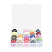 25pcs Bobbins and Sewing Thread Set with Case Organiser Bobbin Storage, Assorted Colours