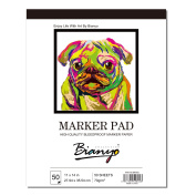 Bianyo A3 Bleedproof Marker Pad- 50 Sheets Art XL Drawing Pad for Markers Pens, 70 gsm …