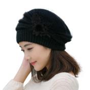 Fashion Women Ladies Flower Knit Crochet Beanie Hat Winter Warm Cap Beret Petite