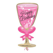73cm Happy Birthday Pink Champagne Glass Flute Foil Balloon 21st 18th Celebration Party Decoration