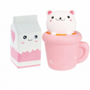 CosCosX Jumbo Animal Squishies Cat Cup and Milk Squishies Slow Rising Sweet Scented Kawaii Kid Toy Relieves Stress Suitable for Children and Adult 2 Pcs