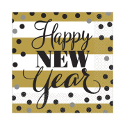 "Amscan International 1299640cm Golden New Year"" Printed Napkin"