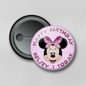 Disney Minnie Mouse (5.8cm) Personalised Pin Badge Printed in Hi-RES Photo Quality