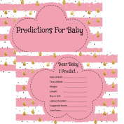 Baby Girl Prediction Cards Ideal for a Baby Shower Game Activity Pink Raindrop Theme . 16 Guests