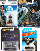 2018 Justice League Batmobile Batman Set #1 + Pop Culture Dodge Macho Power Waggon Truck Retro Bat Dark Knight & Miniature Desert Metal Figure collectible toy bundle set