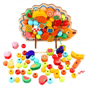 Kids Hand Eye Coordination Toys --- 82 PCS Nicely Crafted Wooden Stringing & Lacing Beads,Fruits and Vegetables Toys, Hedgehog Tree Board, Educational Toy for Kids